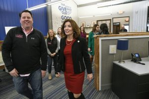 Lt. Gov. Kathy Hochul tours Troy Innovation Garage with Tom Nardacci.