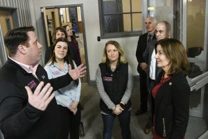 Lt. Gov. Kathy Hochul tours Troy Innovation Garage talking with members